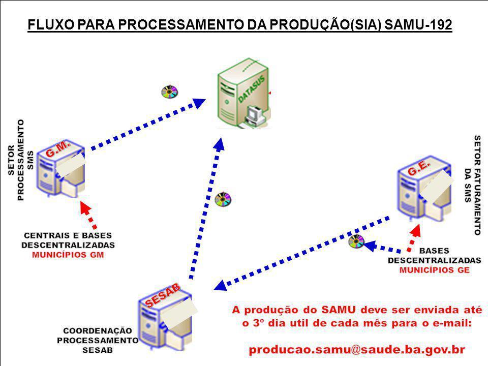 SIA CNES PPI FPO MAC FPO MAGNÉTICO FLUXO PARA PROCESSAMENTO DA PRODUÇÃO(SIA) SAMU-192