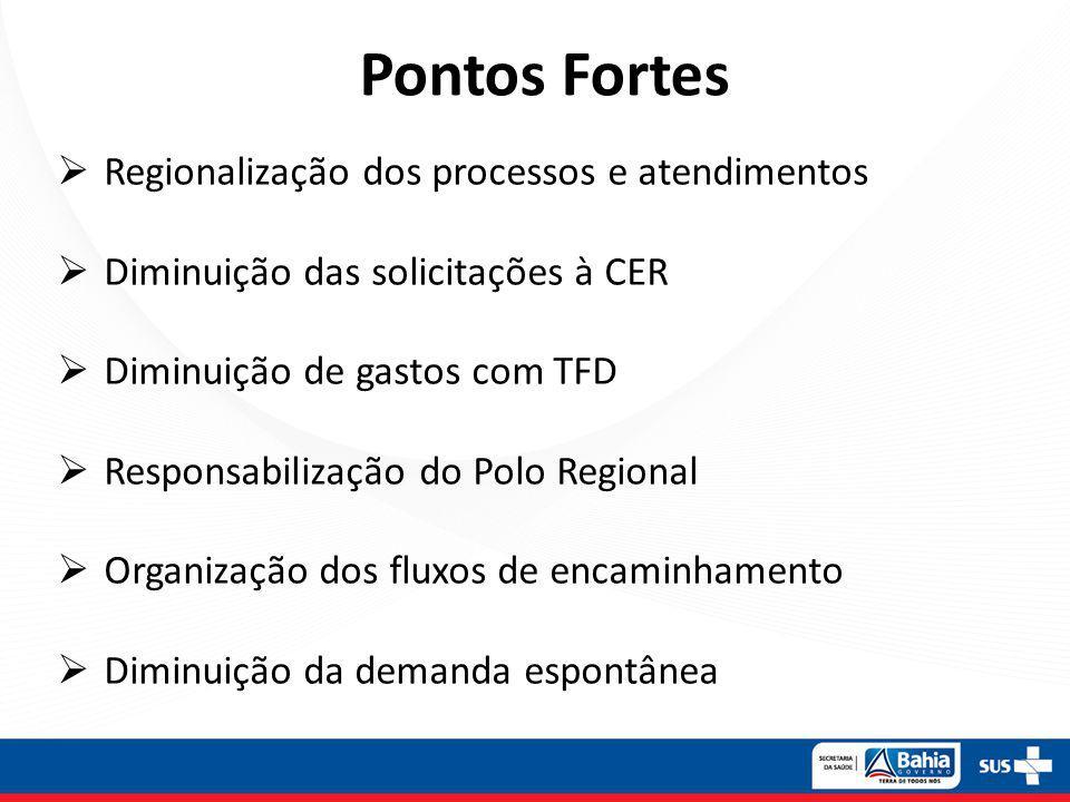 Pontos Fortes Regionalização dos processos e atendimentos Diminuição das solicitações à CER Diminuição de gastos com TFD Responsabilização do Polo Regional Organização dos fluxos de encaminhamento Diminuição da demanda espontânea
