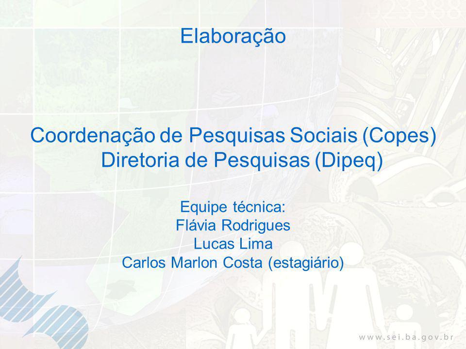 Elaboração Coordenação de Pesquisas Sociais (Copes) Diretoria de Pesquisas (Dipeq) Equipe técnica: Flávia Rodrigues Lucas Lima Carlos Marlon Costa (estagiário)