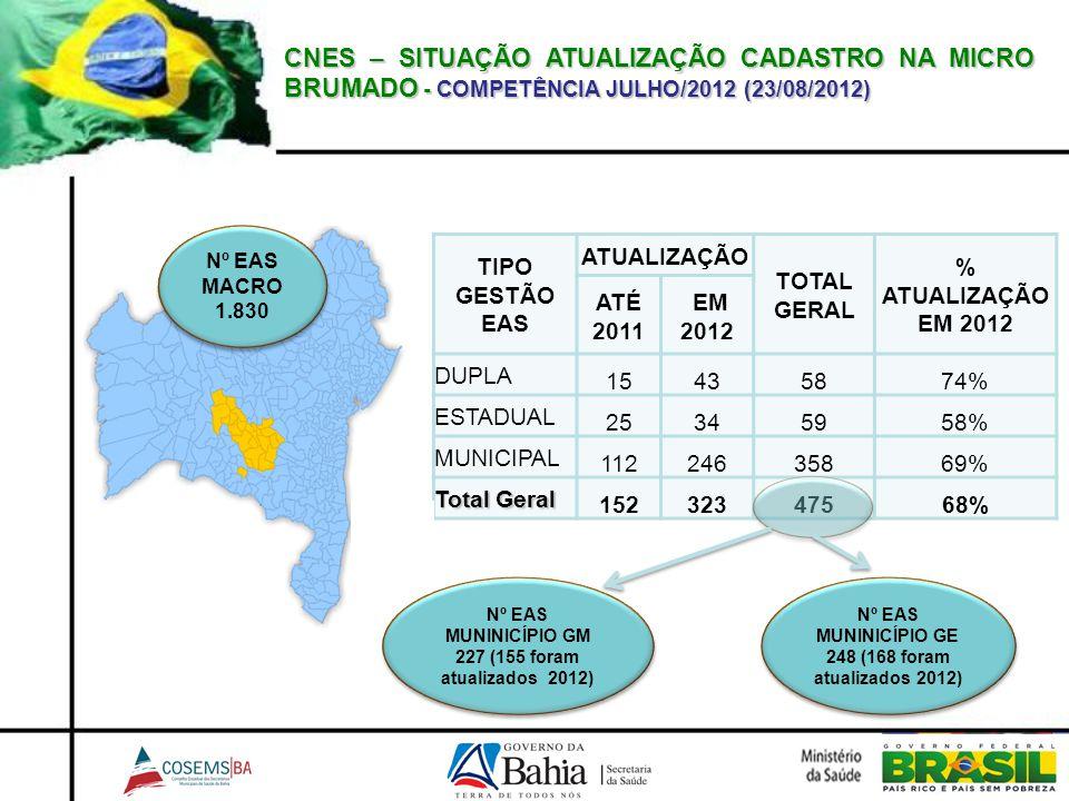 CNES – SITUAÇÃO ATUALIZAÇÃO CADASTRO NA MICRO BRUMADO - COMPETÊNCIA JULHO/2012 (23/08/2012) TIPO GESTÃO EAS ATUALIZAÇÃO TOTAL GERAL % ATUALIZAÇÃO EM 2