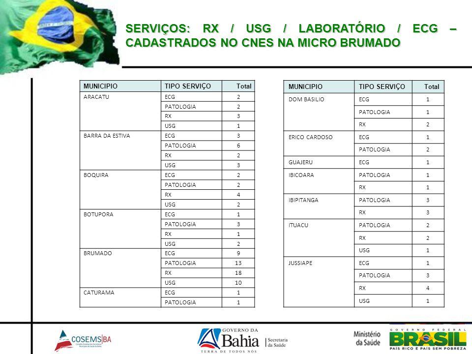 SERVIÇOS: RX / USG / LABORATÓRIO / ECG – CADASTRADOS NO CNES NA MICRO BRUMADO MUNICIPIOTIPO SERVIÇOTotal ARACATUECG2 PATOLOGIA2 RX3 USG1 BARRA DA ESTI