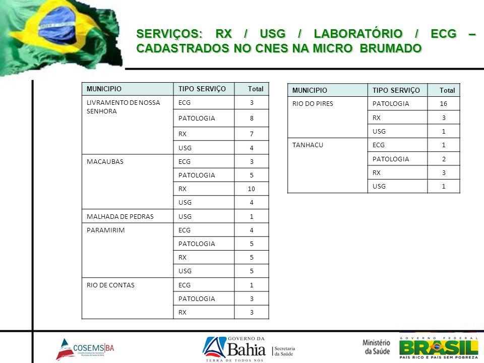 SERVIÇOS: RX / USG / LABORATÓRIO / ECG – CADASTRADOS NO CNES NA MICRO BRUMADO MUNICIPIOTIPO SERVIÇOTotal LIVRAMENTO DE NOSSA SENHORA ECG3 PATOLOGIA8 R