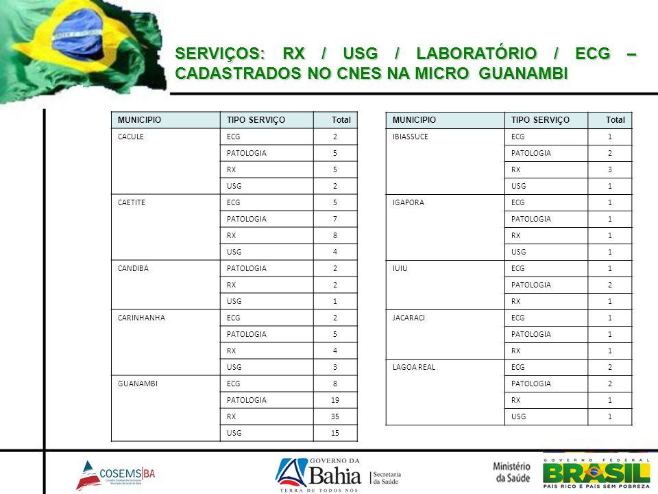 SERVIÇOS: RX / USG / LABORATÓRIO / ECG – CADASTRADOS NO CNES NA MICRO GUANAMBI MUNICIPIOTIPO SERVIÇOTotal CACULEECG2 PATOLOGIA5 RX5 USG2 CAETITEECG5 P