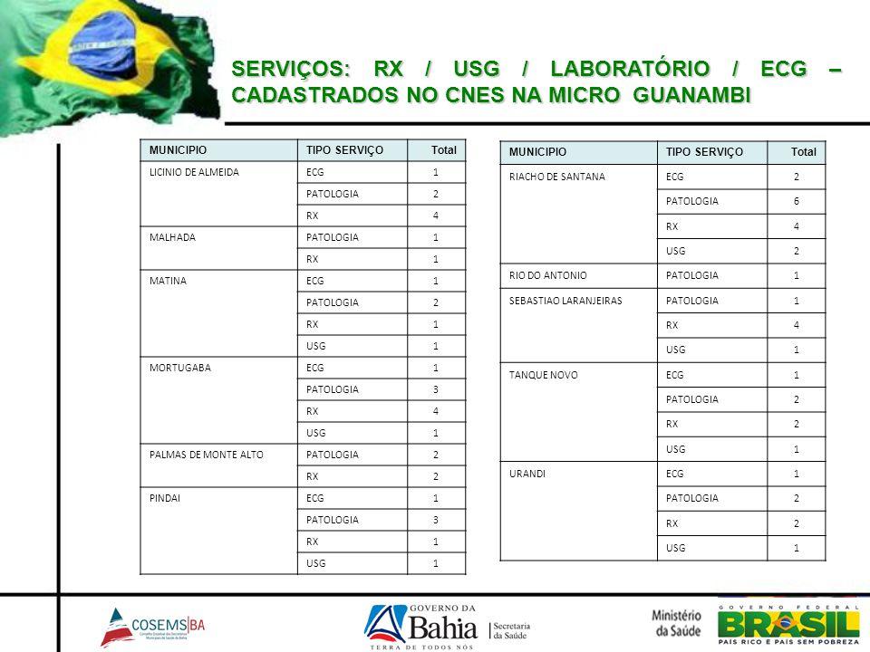 SERVIÇOS: RX / USG / LABORATÓRIO / ECG – CADASTRADOS NO CNES NA MICRO GUANAMBI MUNICIPIOTIPO SERVIÇOTotal LICINIO DE ALMEIDAECG1 PATOLOGIA2 RX4 MALHAD