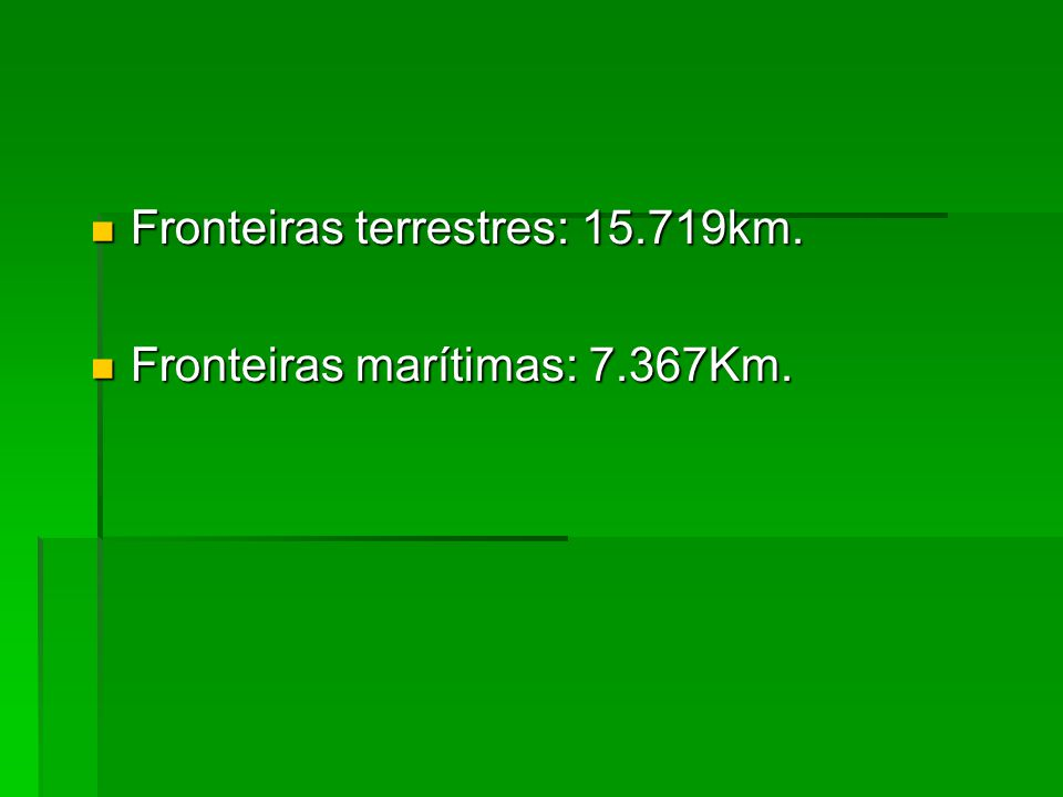 Fronteiras terrestres: 15.719km. Fronteiras terrestres: 15.719km.