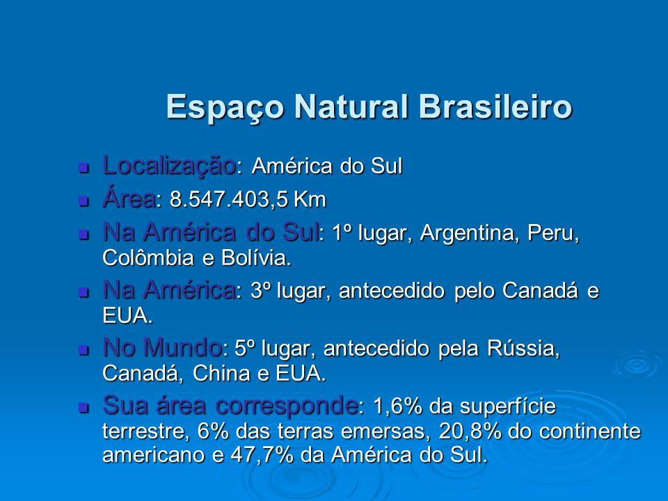 Espaço Natural Brasileiro Localização : América do Sul Localização : América do Sul Área : 8.547.403,5 Km Área : 8.547.403,5 Km Na América do Sul : 1º lugar, Argentina, Peru, Colômbia e Bolívia.