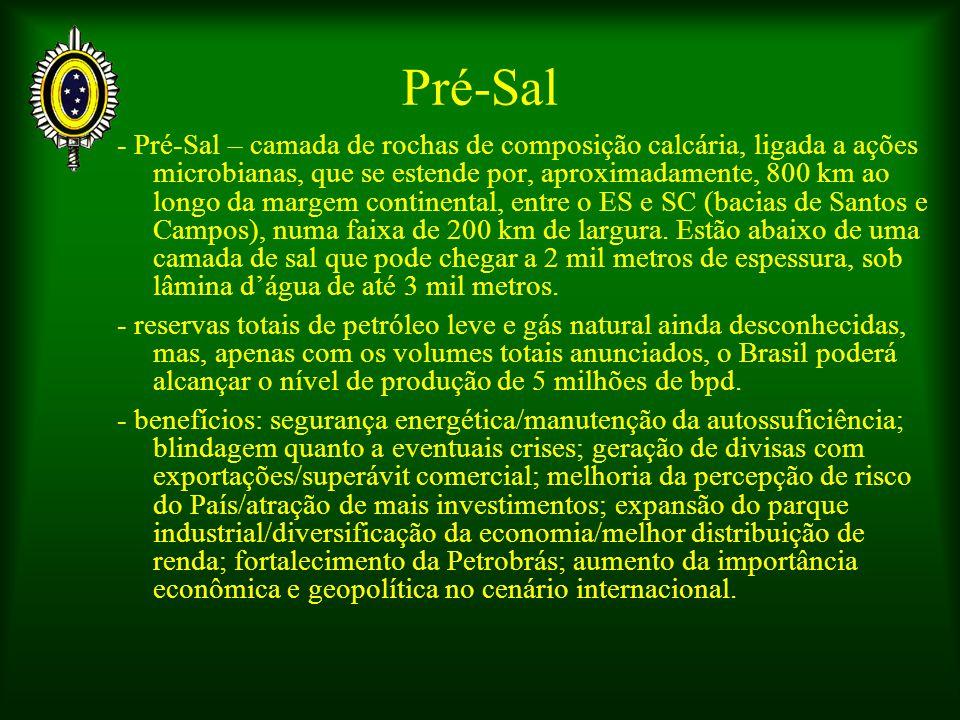 Pré-Sal - Pré-Sal – camada de rochas de composição calcária, ligada a ações microbianas, que se estende por, aproximadamente, 800 km ao longo da margem continental, entre o ES e SC (bacias de Santos e Campos), numa faixa de 200 km de largura.
