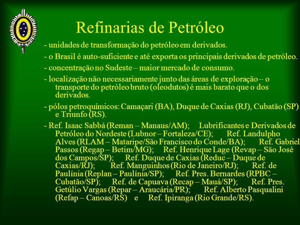 Refinarias de Petróleo - unidades de transformação do petróleo em derivados.