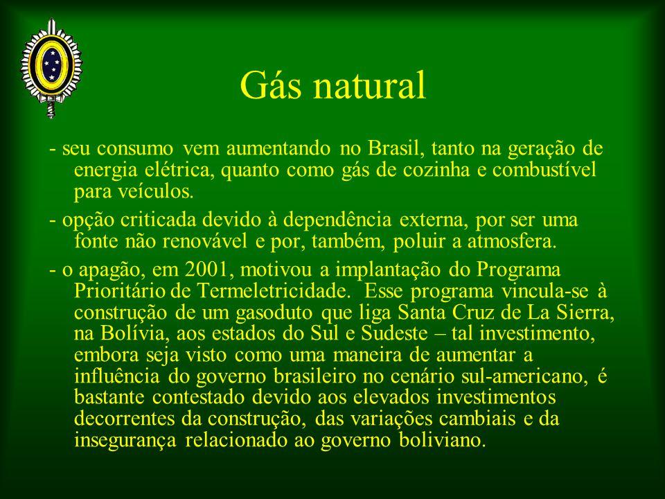 Gás natural - seu consumo vem aumentando no Brasil, tanto na geração de energia elétrica, quanto como gás de cozinha e combustível para veículos.