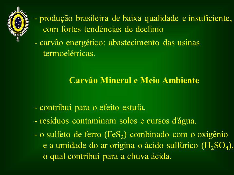 - produção brasileira de baixa qualidade e insuficiente, com fortes tendências de declínio - carvão energético: abastecimento das usinas termoelétricas.