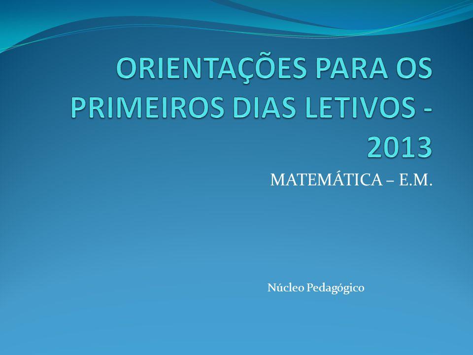 MATEMÁTICA – E.M. Núcleo Pedagógico