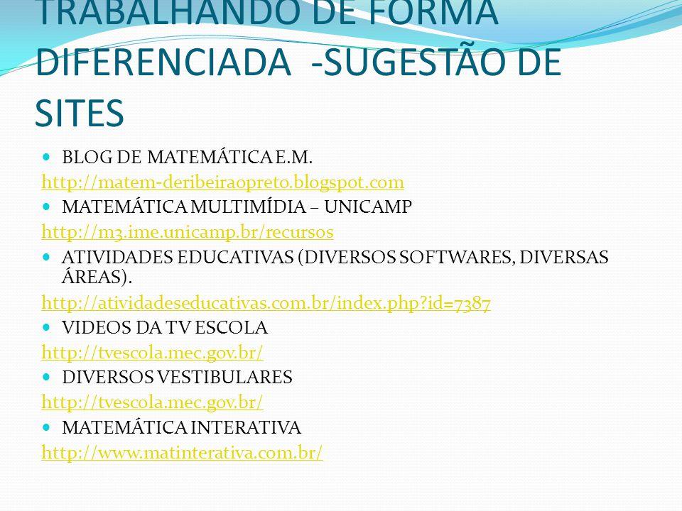 TRABALHANDO DE FORMA DIFERENCIADA -SUGESTÃO DE SITES BLOG DE MATEMÁTICA E.M. http://matem-deribeiraopreto.blogspot.com MATEMÁTICA MULTIMÍDIA – UNICAMP