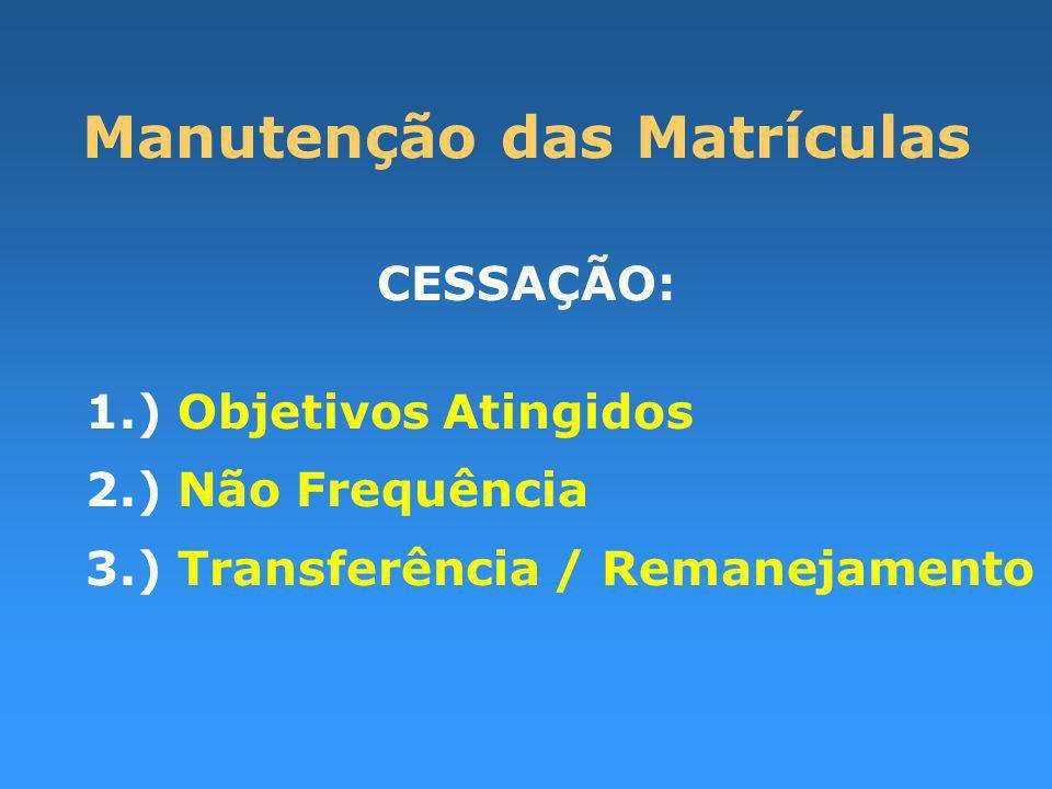 Manutenção das Matrículas CESSAÇÃO: 1.) Objetivos Atingidos 2.) Não Frequência 3.) Transferência / Remanejamento