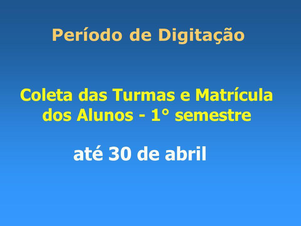 Coleta das Turmas e Matrícula dos Alunos - 1° semestre Período de Digitação até 30 de abril