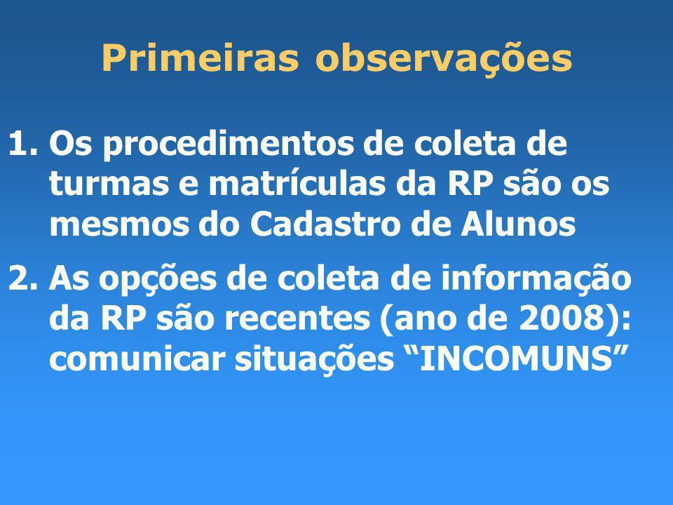 Primeiras observações 1.Os procedimentos de coleta de turmas e matrículas da RP são os mesmos do Cadastro de Alunos 2.As opções de coleta de informação da RP são recentes (ano de 2008): comunicar situações INCOMUNS