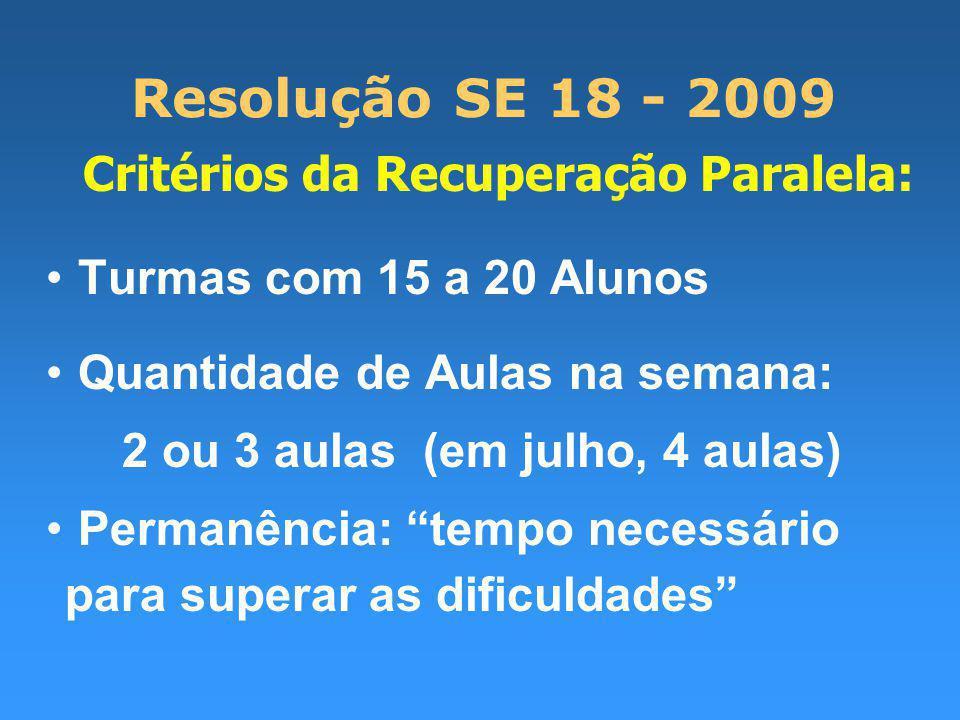 Resolução SE 18 - 2009 Critérios da Recuperação Paralela: Turmas com 15 a 20 Alunos Quantidade de Aulas na semana: 2 ou 3 aulas (em julho, 4 aulas) Permanência: tempo necessário para superar as dificuldades