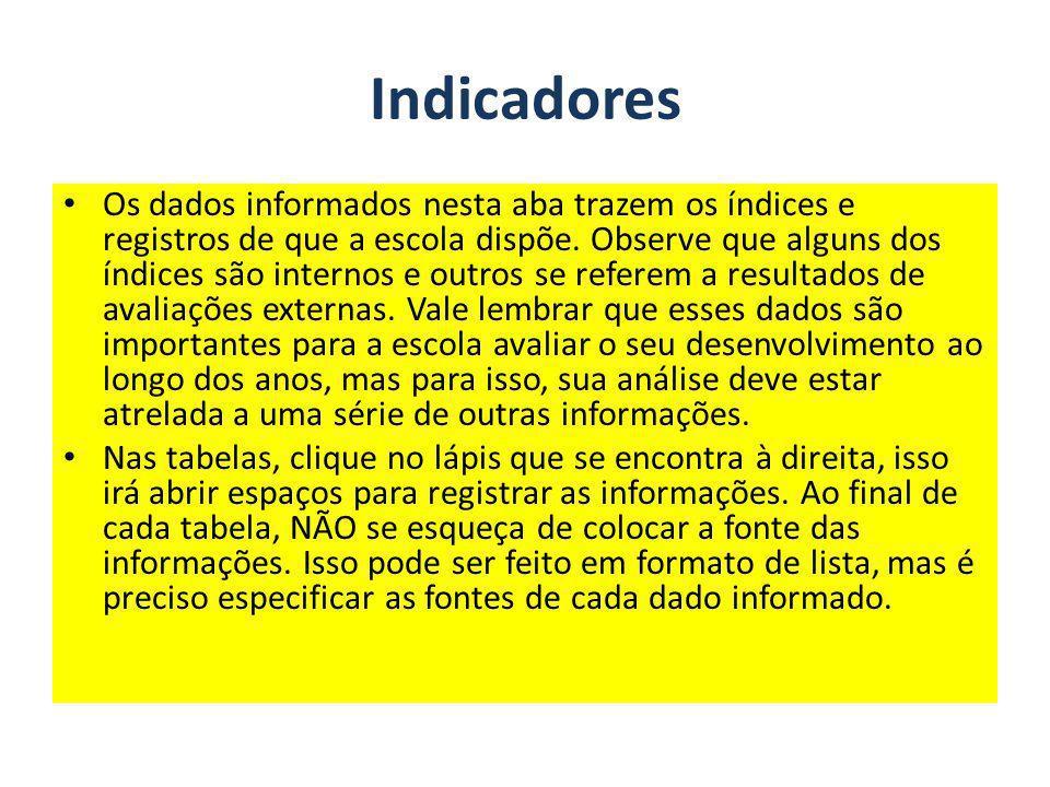 Indicadores Os dados informados nesta aba trazem os índices e registros de que a escola dispõe. Observe que alguns dos índices são internos e outros s