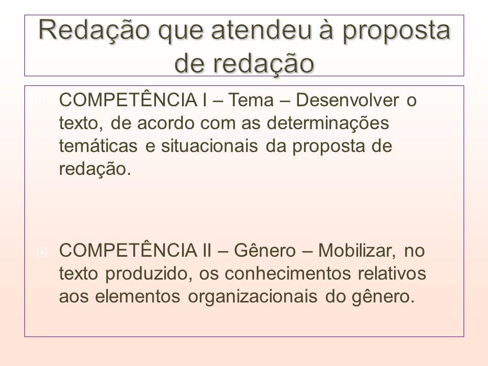 COMPETÊNCIA I – Tema – Desenvolver o texto, de acordo com as determinações temáticas e situacionais da proposta de redação. COMPETÊNCIA II – Gênero –