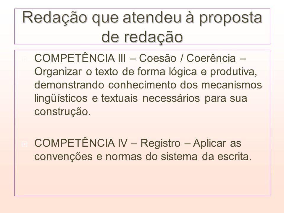 COMPETÊNCIA III – Coesão / Coerência – Organizar o texto de forma lógica e produtiva, demonstrando conhecimento dos mecanismos lingüísticos e textuais