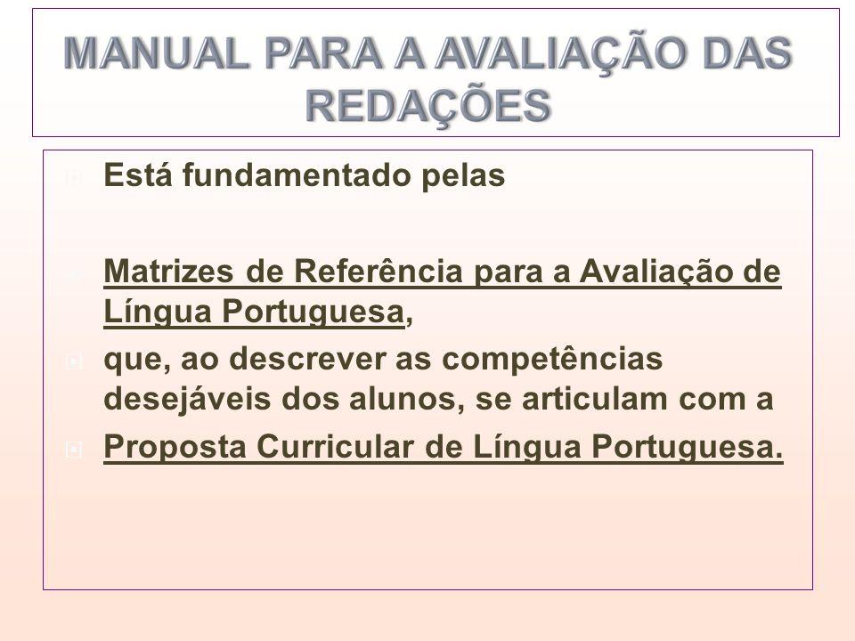 Está fundamentado pelas Matrizes de Referência para a Avaliação de Língua Portuguesa, que, ao descrever as competências desejáveis dos alunos, se arti