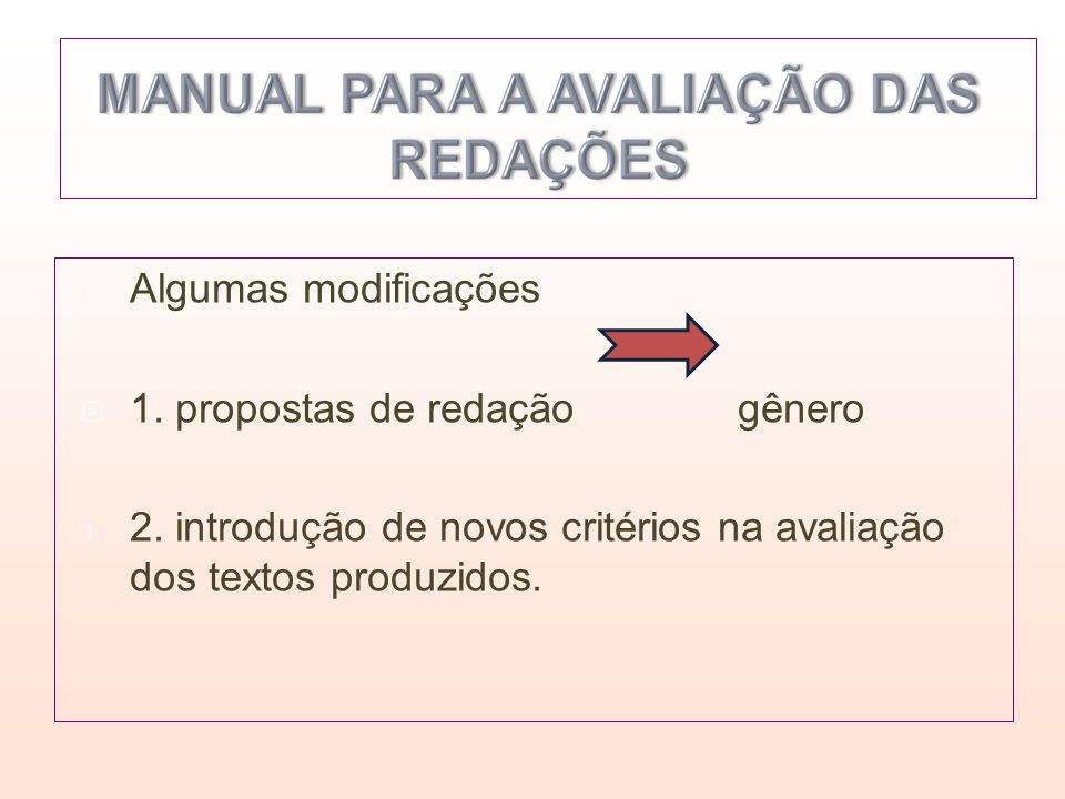 Algumas modificações 1. propostas de redação gênero 1. 2. introdução de novos critérios na avaliação dos textos produzidos.