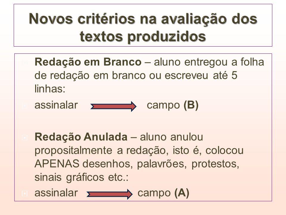Redação em Branco – aluno entregou a folha de redação em branco ou escreveu até 5 linhas: assinalar campo (B) Redação Anulada – aluno anulou proposita