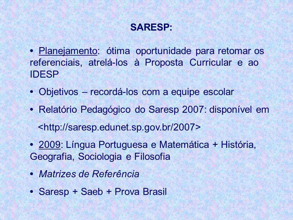 SARESP: Planejamento: ótima oportunidade para retomar os referenciais, atrelá-los à Proposta Curricular e ao IDESP Objetivos – recordá-los com a equip