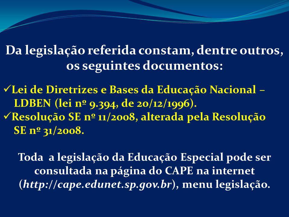Da legislação referida constam, dentre outros, os seguintes documentos: Lei de Diretrizes e Bases da Educação Nacional – LDBEN (lei nº 9.394, de 20/12