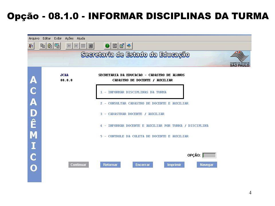 4 Opção - 08.1.0 - INFORMAR DISCIPLINAS DA TURMA