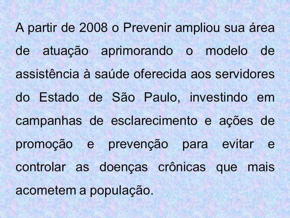 A partir de 2008 o Prevenir ampliou sua área de atuação aprimorando o modelo de assistência à saúde oferecida aos servidores do Estado de São Paulo, investindo em campanhas de esclarecimento e ações de promoção e prevenção para evitar e controlar as doenças crônicas que mais acometem a população.