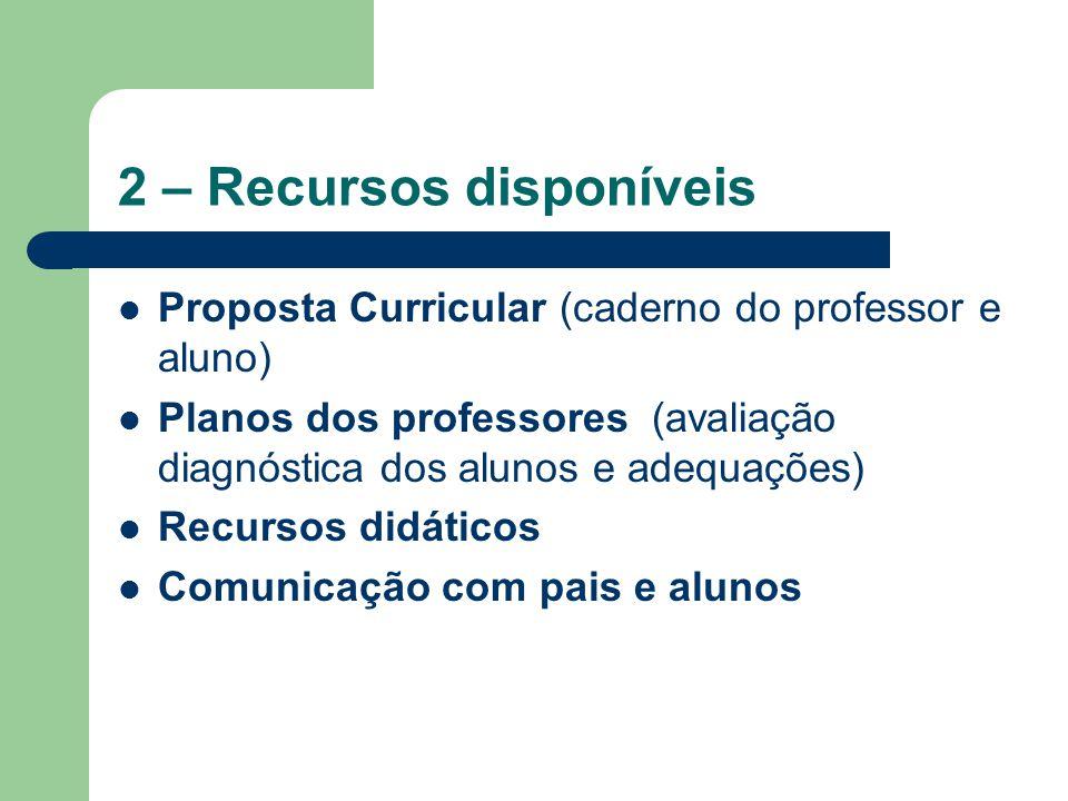 2 – Recursos disponíveis Proposta Curricular (caderno do professor e aluno) Planos dos professores (avaliação diagnóstica dos alunos e adequações) Rec
