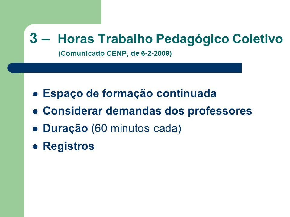 3 – Horas Trabalho Pedagógico Coletivo (Comunicado CENP, de 6-2-2009) Espaço de formação continuada Considerar demandas dos professores Duração (60 mi