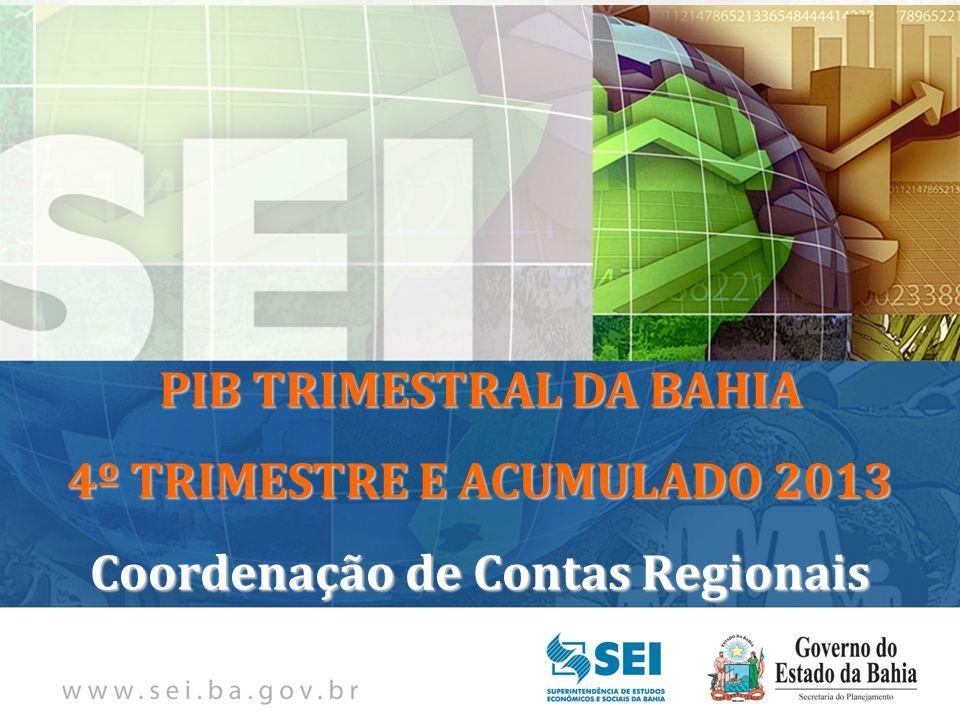 PIB TRIMESTRAL Bahia – 4º Trimestre de 2009 Bahia – 4º Trimestre de 2009 PIB TRIMESTRAL DA BAHIA 4º TRIMESTRE E ACUMULADO 2013 Coordenação de Contas Regionais