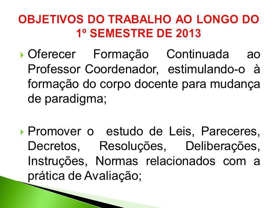 Oferecer Formação Continuada ao Professor Coordenador, estimulando-o à formação do corpo docente para mudança de paradigma; Promover o estudo de Leis,