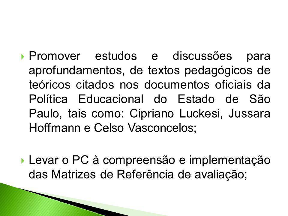 Promover estudos e discussões para aprofundamentos, de textos pedagógicos de teóricos citados nos documentos oficiais da Política Educacional do Estad