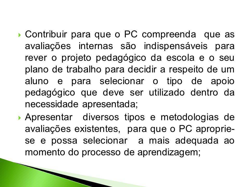 Contribuir para que o PC compreenda que as avaliações internas são indispensáveis para rever o projeto pedagógico da escola e o seu plano de trabalho