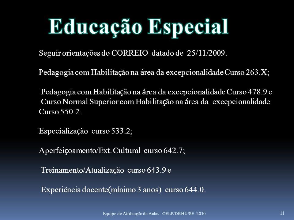 11 Seguir orientações do CORREIO datado de 25/11/2009. Pedagogia com Habilita ç ão na á rea da excepcionalidade Curso 263.X; Pedagogia com Habilita ç