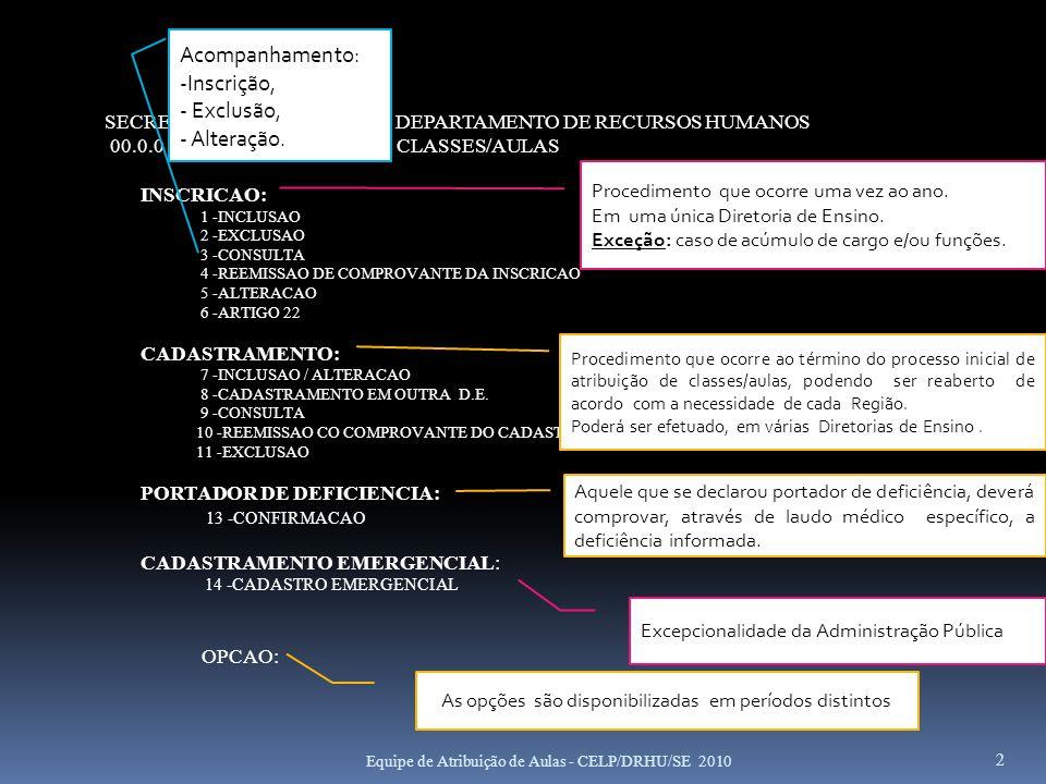 2 SECRETARIA DA EDUCACAO - DEPARTAMENTO DE RECURSOS HUMANOS 00.0.0 ATRIBUICAO DE CLASSES/AULAS INSCRICAO: 1 -INCLUSAO 2 -EXCLUSAO 3 -CONSULTA 4 -REEMI