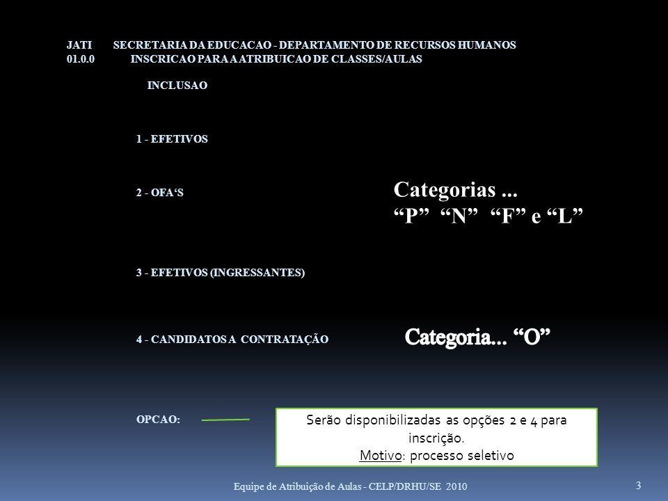 JATI SECRETARIA DA EDUCACAO - DEPARTAMENTO DE RECURSOS HUMANOS 01.0.0 INSCRICAO PARA A ATRIBUICAO DE CLASSES/AULAS INCLUSAO 1 - EFETIVOS 2 - OFAS 3 -