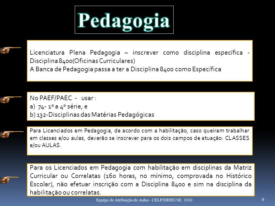9 Licenciatura Plena Pedagogia – inscrever como disciplina específica - Disciplina 8400(Oficinas Curriculares) A Banca de Pedagogia passa a ter a Disc