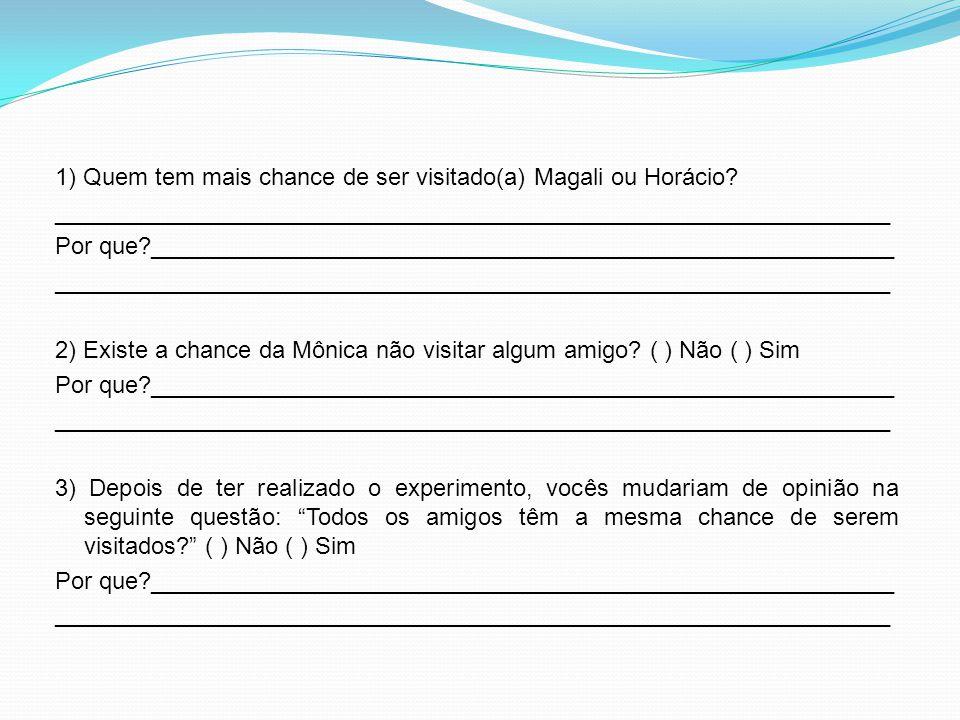 1) Quem tem mais chance de ser visitado(a) Magali ou Horácio? _______________________________________________________________ Por que?________________