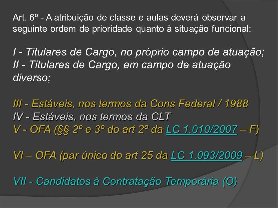 Art. 6º - A atribuição de classe e aulas deverá observar a seguinte ordem de prioridade quanto à situação funcional: I - Titulares de Cargo, no própri