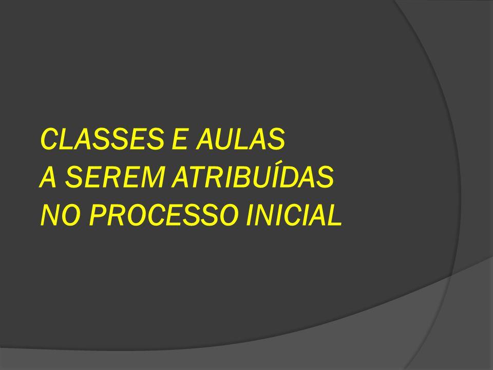 CLASSES E AULAS A SEREM ATRIBUÍDAS NO PROCESSO INICIAL