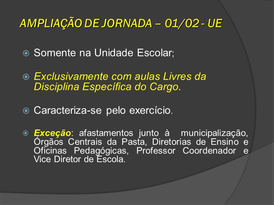 AMPLIAÇÃO DE JORNADA – 01/02 - UE Somente na Unidade Escolar ; Exclusivamente com aulas Livres da Disciplina Específica do Cargo. Caracteriza-se pelo