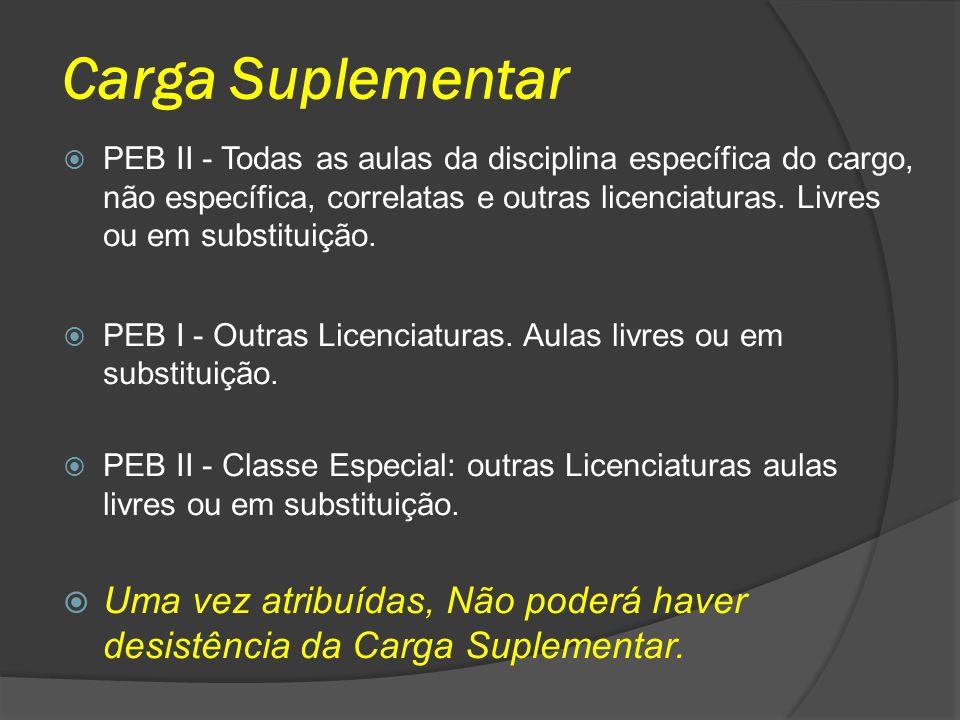 Carga Suplementar PEB II - Todas as aulas da disciplina específica do cargo, não específica, correlatas e outras licenciaturas. Livres ou em substitui