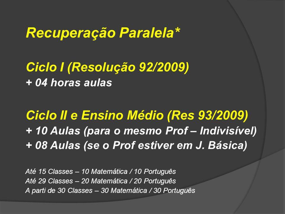 Recuperação Paralela* Ciclo I (Resolução 92/2009) + 04 horas aulas Ciclo II e Ensino Médio (Res 93/2009) + 10 Aulas (para o mesmo Prof – Indivisível)