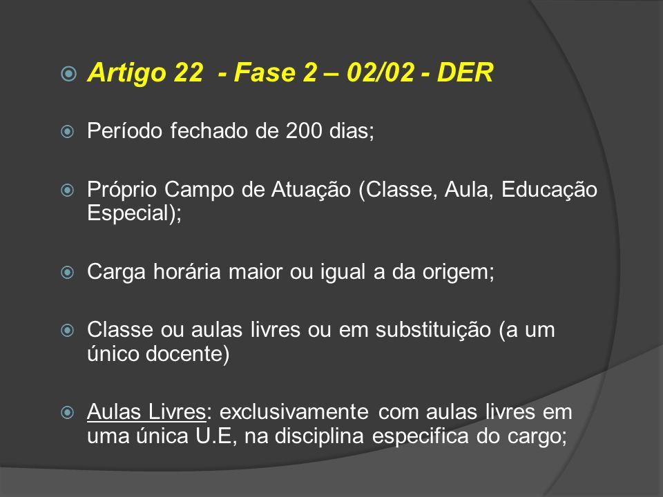 Artigo 22 - Fase 2 – 02/02 - DER Período fechado de 200 dias; Próprio Campo de Atuação (Classe, Aula, Educação Especial); Carga horária maior ou igual