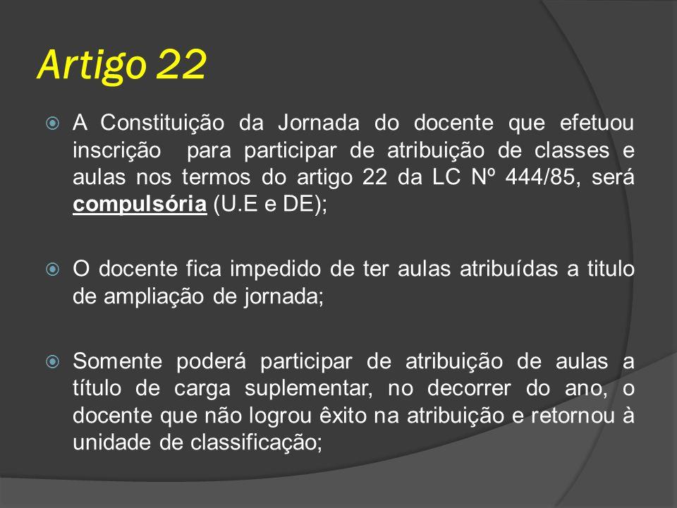 Artigo 22 A Constituição da Jornada do docente que efetuou inscrição para participar de atribuição de classes e aulas nos termos do artigo 22 da LC Nº