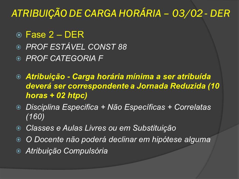 ATRIBUIÇÃO DE CARGA HORÁRIA – 03/02 - DER Fase 2 – DER PROF ESTÁVEL CONST 88 PROF CATEGORIA F Atribuição - Carga horária mínima a ser atribuída deverá