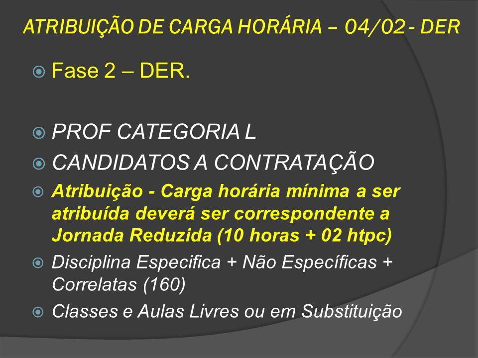 ATRIBUIÇÃO DE CARGA HORÁRIA – 04/02 - DER Fase 2 – DER. PROF CATEGORIA L CANDIDATOS A CONTRATAÇÃO Atribuição - Carga horária mínima a ser atribuída de
